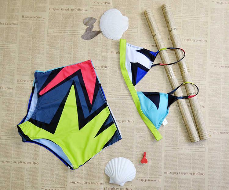 2017 Nieuwe Spell Kleur Hoge Taille Badpak Bikini Set Sexy Tweedelige Pak Push Badmode Strandbad Vrouwelijke Halter Badpak