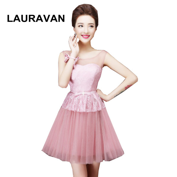 sweet sixteen formal short elegant cute blush   bridesmaid     dresses   gowns for teens special occasion tulle   dress   free shipping