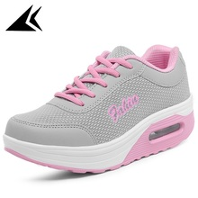 New Hight Increasing Cushion Women Sport Shoes Breathable Mesh Damping Lace-up Running Shoes