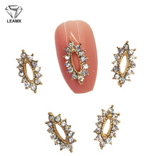 LEAMX 10 Pcs Drop Frame Glitter Rhinestones 3D Nail Art Decorations Gold Hollow Oval Alloy Charms DIY Stickers L498