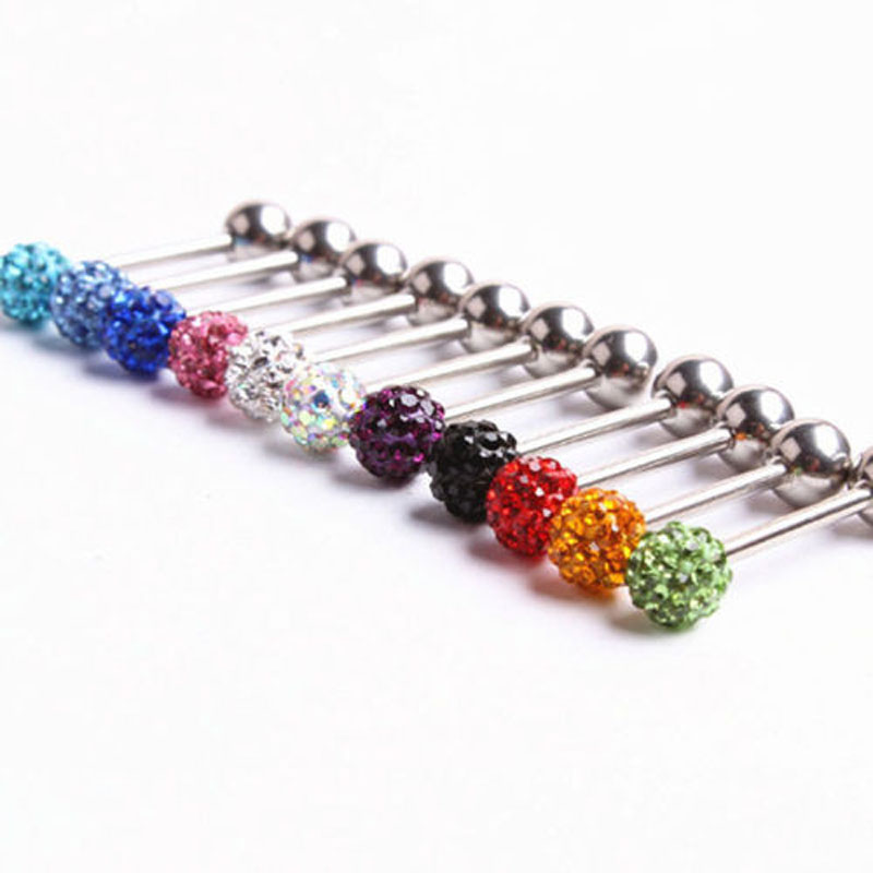 14G Surgical Steel Crystal Ball Barbell Tongue Ring Ear Stud Body Piercing Pin