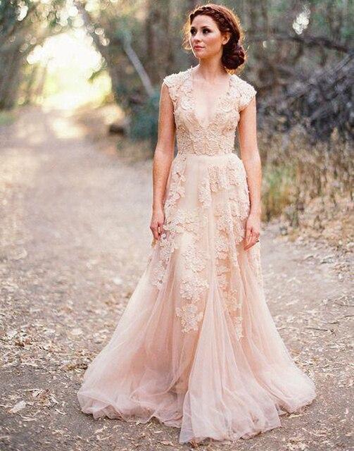 Vestidos Novia глубокий V рукавом розовые свадебные платья великобритания кружева аппликация тюль чистой дешево-урожай линия румяна свадебные платья