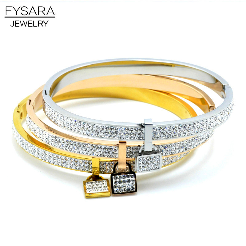 FYSARA Gold-Color Lock Bracelet Bangles Love Lover Jewelry Couple Fashion Romantic Design Full Crystal Bangle Lock Women
