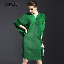Texiwas 2019 봄과 가을 새로운 기질 v 목 박쥐 긴 소매 여성 가방 엉덩이 솔리드 컬러 폴드 드레스
