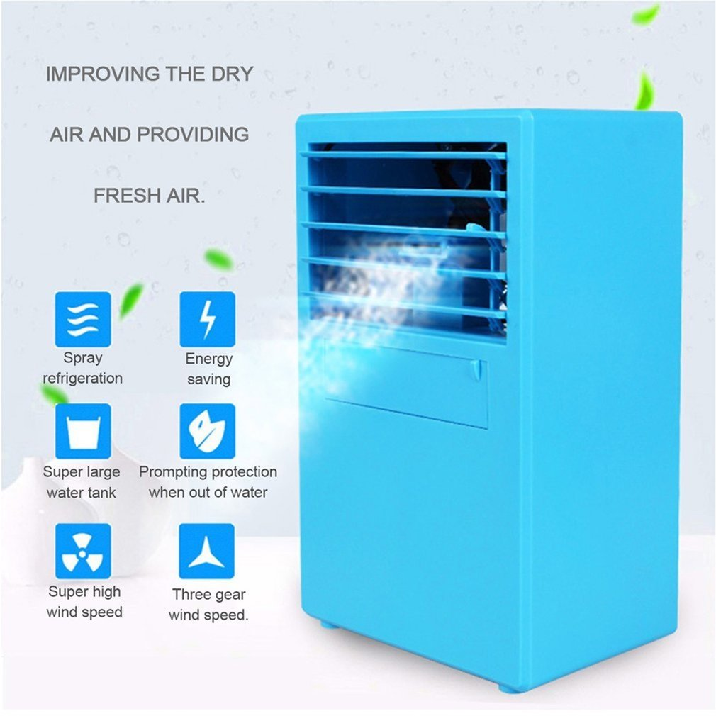 Air Cooler Air Conditioner Fan Personal Space Portable3 in 1 USB Desktop Mini Evaporative Air Cooler Humidificateur Purifier 3 Vitesses LED Light for Office Home Outdoor Travel,B