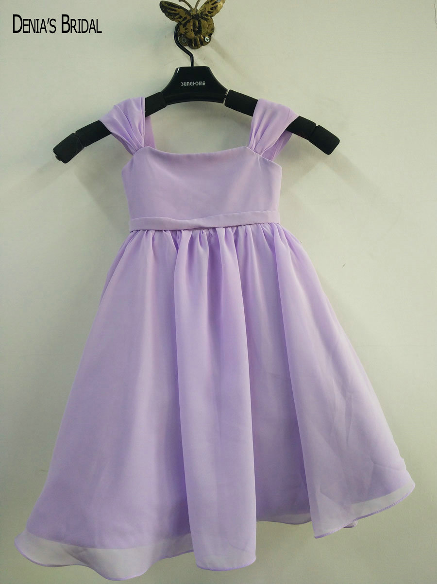 2017 A-Line Simple   Flower     Girls     Dresses   with Square Neckline Bow   Girls  ' Pageant