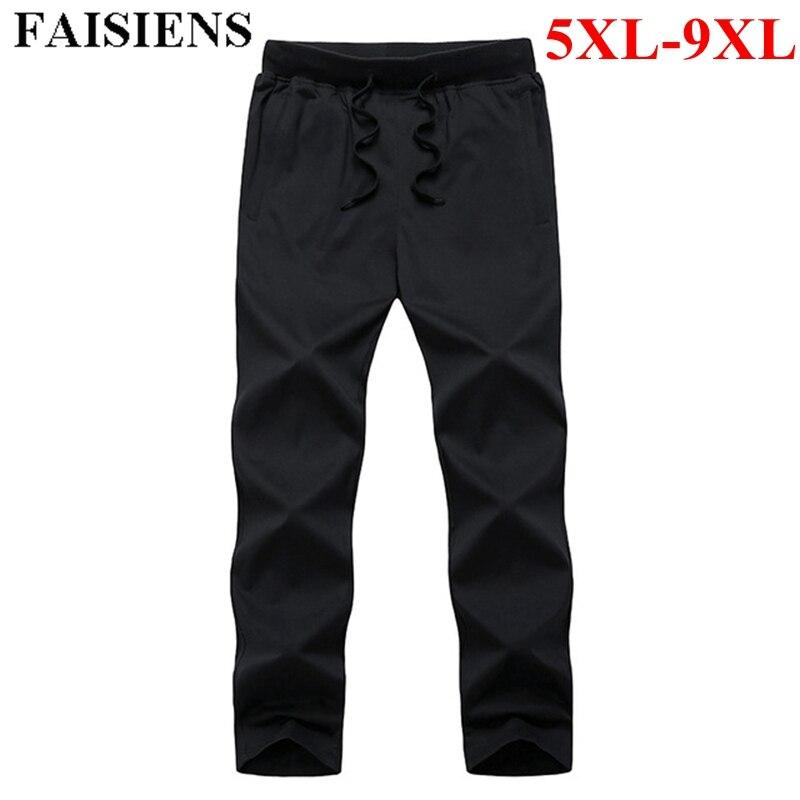 FAISIENS Summer Thin 8XL 9XL Plus Size Men Casual Pants Elastic Waist Pocket Black Blue Breathable Elastic Cotton Mens Trousers