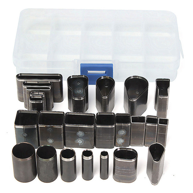 24 формы стиль Отверстие полые перфорирующий резак набор для ручной работы кожа ручной работы инструмент Лучшая цена