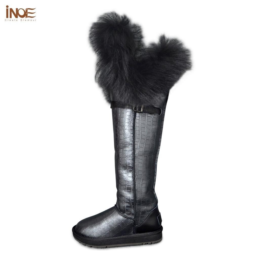 INOE cuir véritable fourrure de mouton doublé fourrure de renard sur le genou long Shearling femmes hiver bottes de neige haute hiver chaussures imperméables