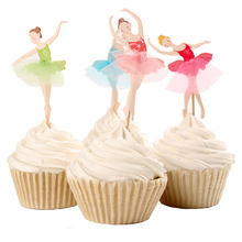 Graceful Ballerina Cupcake Topper Dancer Cake Accessory Girl Birthday Party Supplies 120pcs/lot DEC066