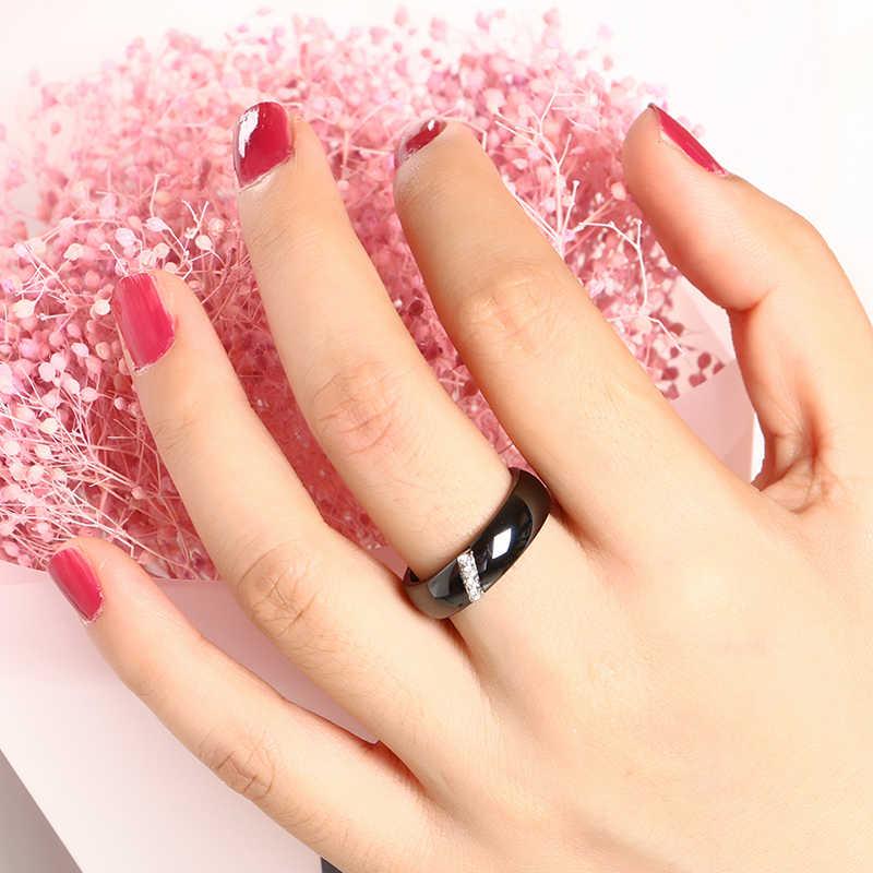 새로운 6MM 크리스탈 세라믹 반지 큐빅 지르코니아 스톤 흑백 색상 여성 쥬얼리 결혼 웨딩 밴드 선물 여성을위한