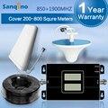 Ganho de 65dB GSM 850 1900 Impulsionador Celular Amplificador de Sinal de Telefone Celular CDMA 850 mhz PCS 1900 mhz Dual Band Repetidor para o Brasil