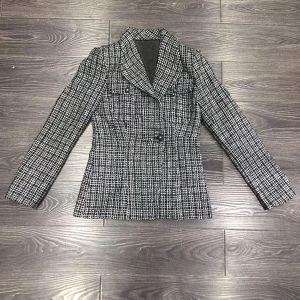 Brand New 2019 Autumn Plaid Blazers Coat Chic Women's Elegant Tweed Jackets Coat A364