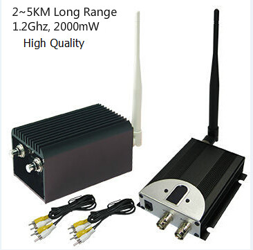 30KM LOS UAV Long Transmission Range Camera Transmitter 1.2ghz Wireless FPV Video Sender and Receiver with 4 channels, 2000mW
