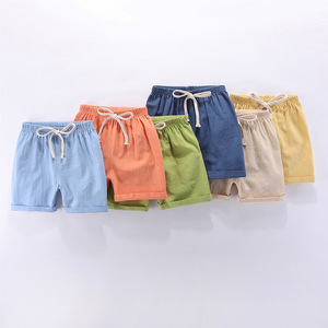 Image 4 - Kids Shorts Summer Baby Boys Girls Beach Short Candy Color Toddler Cotton Linen Loose Shorts Casual Pants Clothing For 3 9Yrs