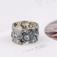 BESTLYBUY Vintage Flower 999 Pure Silver Open Rings for Women Lover Party Gift Flower Ring Thai Silver Jewelry Free Shipping