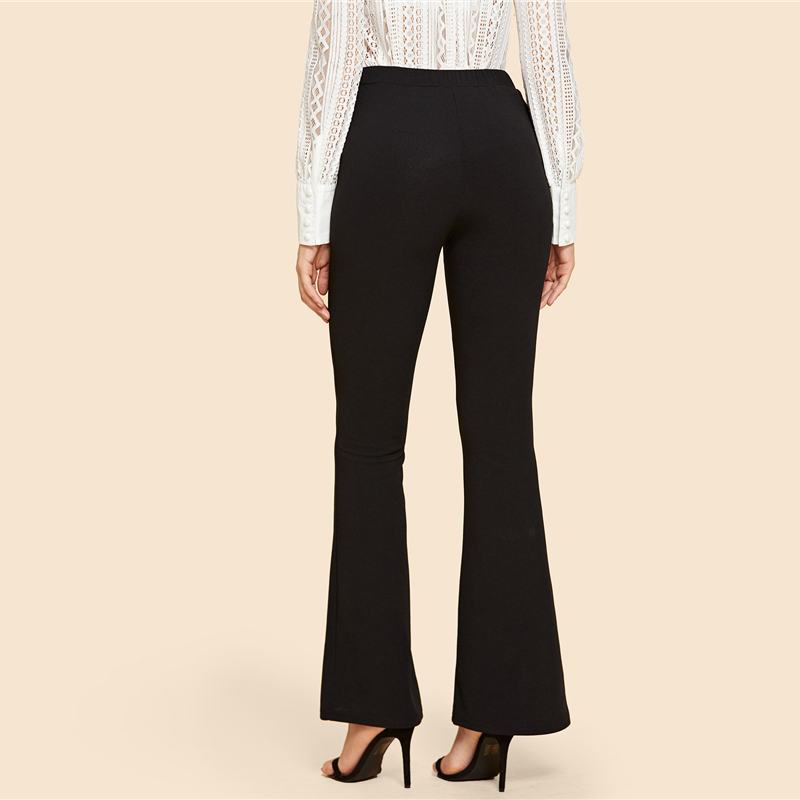 SHEIN Black Vintage Solid Contrast Binding Flare Leg Elastic Waist Elegant Pants Autumn Office Lady Workwear Women Trousers 7