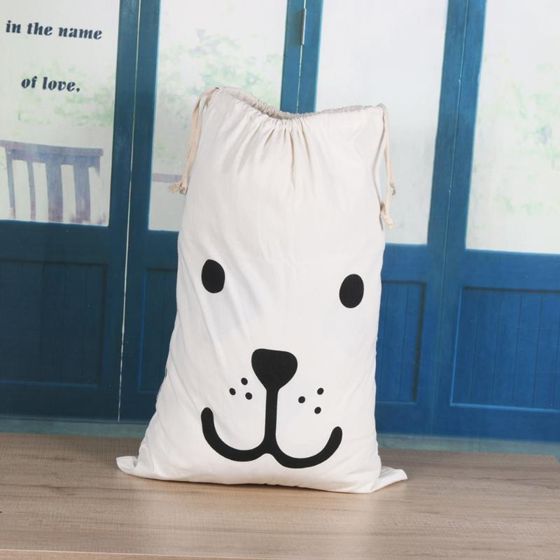 White Cartoon Cotton Sundries Organiser European Fabric Household Toys Clothes Storage Bag Pulling Rope Bags