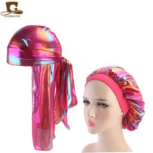 Fashion Men's Durag Headwear Durags and Bonnets Women Comfortable Cap Couple 2pcs sets(China)