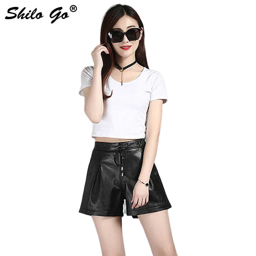 Leather Shorts Womens Autumn Fashion Sheepskin Genuine Leather Shorts Vintage Adjustable High Waist Wide Leg Shorts