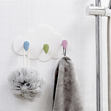 Cute Wall Mounted Key Holder Creative Star Moon Cloud Shape Nail Free 4 Hooks Bathroom Moisture proof Multi Functional