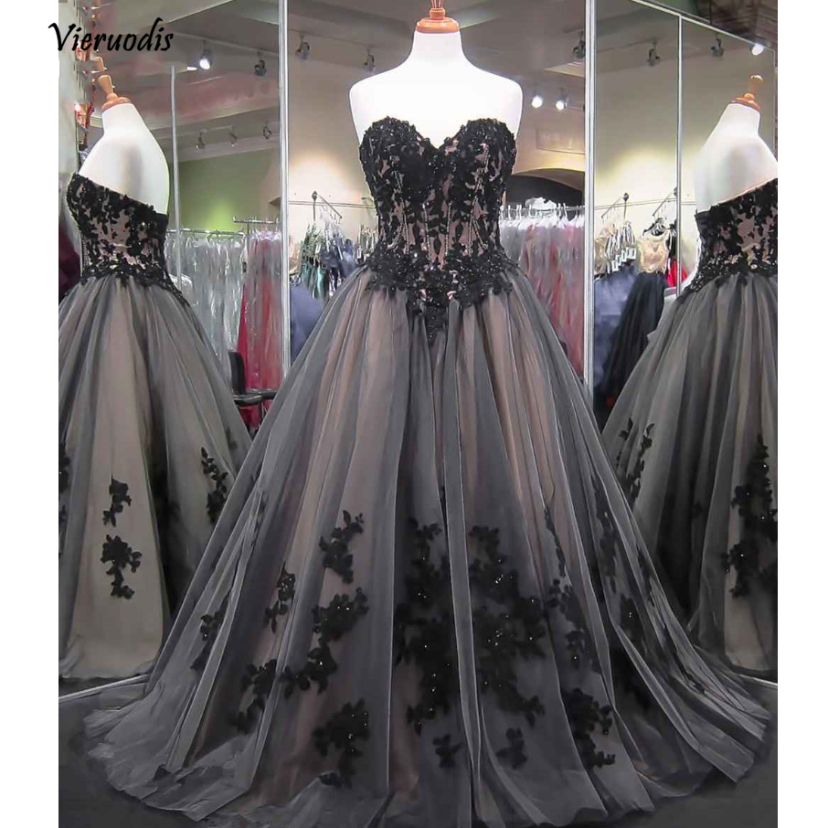 22-1                 Vintage Gray Long Evening Dresses 2018 Appliques Lace Evening Gowns Sweetheart Off Shoulder Formal Party Dress Robe Longue