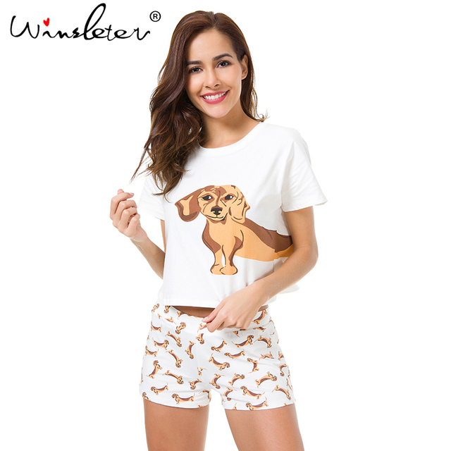 Cute Women Pajamas Nightwear Dachshund Print Dog 2 Pieces Set Short Sleeve Top Elastic Waist Shorts Plus Size Pijamas S75605 L 2
