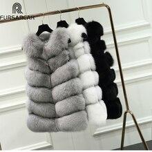FURSARCAR 70CM Natural Real Fox Fur Vest Women Coats Winter Long Thick Fur Vest Female Jacket Ginuine Fur Vest For Women 10435