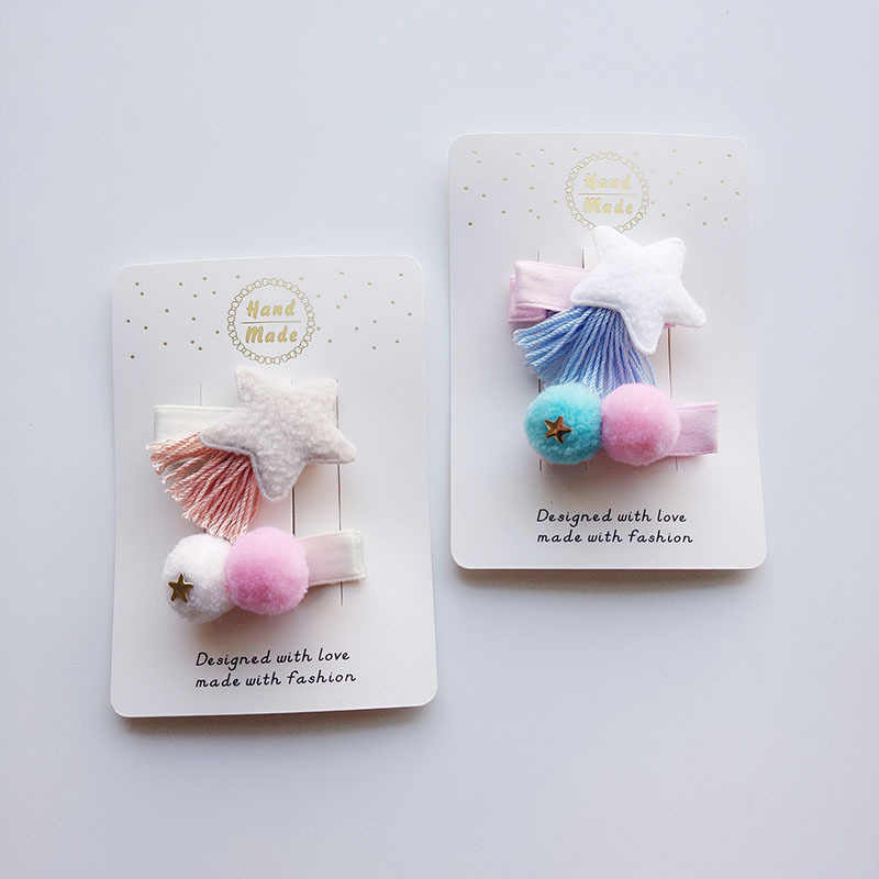 Kids Hair Clips Plush Ball Princess Hairpins Baby Girls Tassel Hair Accessory Gifts for Vestido Infantil Headwear
