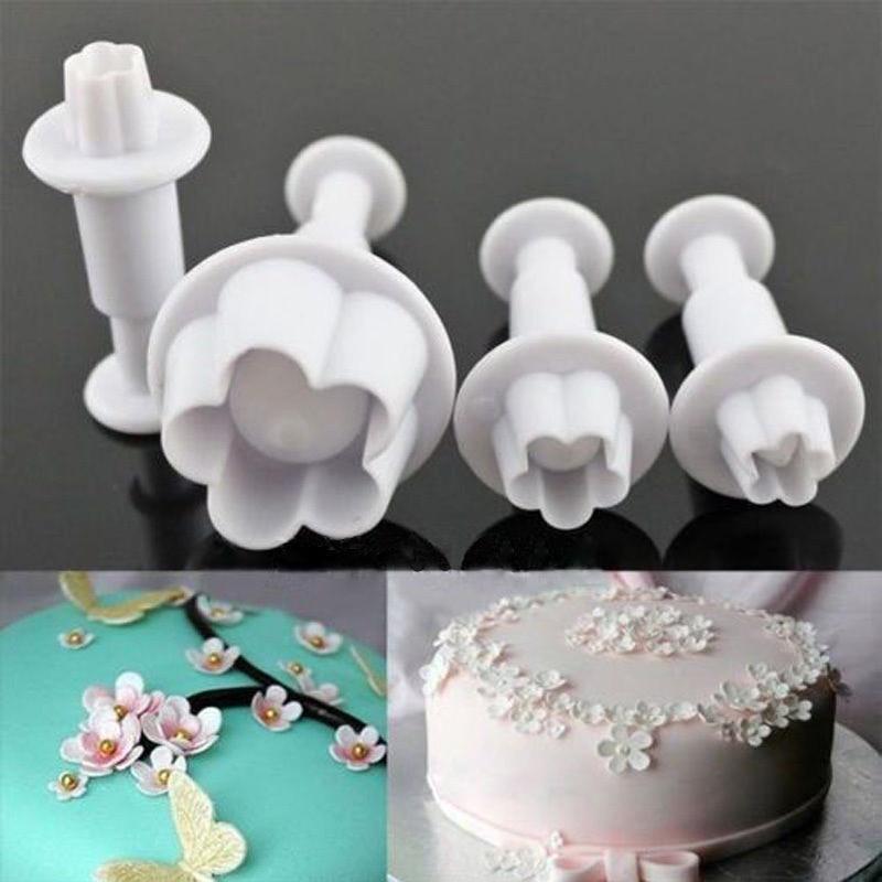 Hot Sale 4pcs Set Plum Flower Plunger Fondant Mold Cutter Sugarcraft