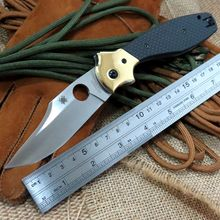 New Update Folding Hunting Using Tool C190 Ed Schempp Bowie Pocket Knife Plain Edge Carbon Fiber handle C190CFP 9Cr Steel Blade