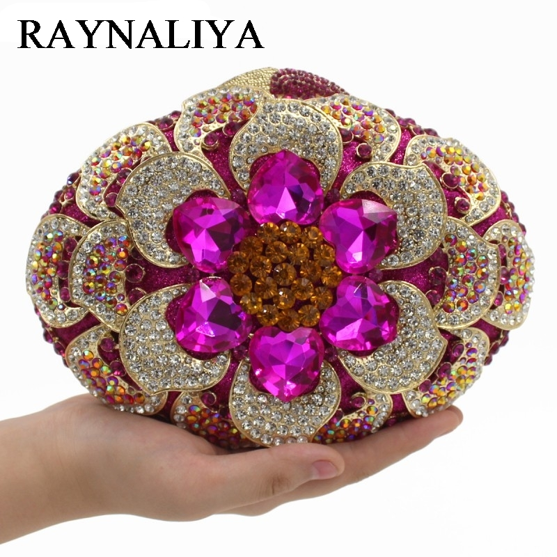 High Quality Women Luxury Brand Clutch Bag Purse Wedding Party Mini Size Flower Shape Gold Crystal Evening Clutches ZH-A0363 milisente high quality luxury crystal evening bag women wedding purses lady party clutch handbag green blue gold white