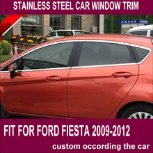 цены car window trim  16PC high quality stainless steel window trim car accessories modified decorations for FORD FIESTA 2009-2012