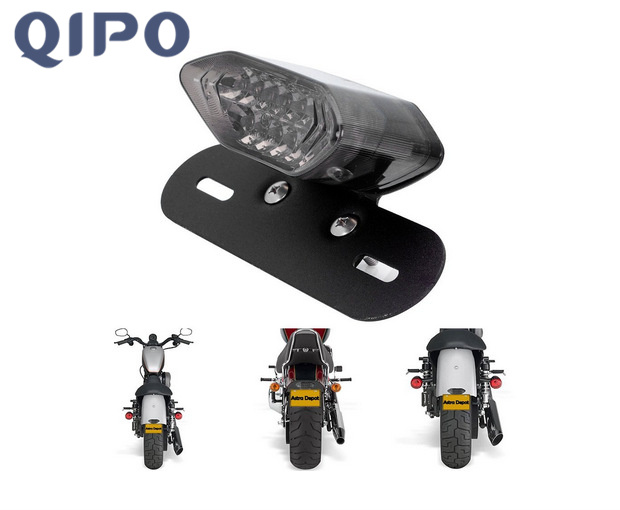 QIPO Black Motorcycle Lens LED Lights Integrated Tail Brake Stop Running License Lamp Bulb Motorcycle Tail Turn Signal