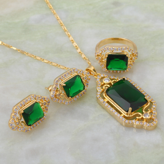 Christmas gift unique design fashion jewelry sets peridot pendants christmas gift unique design fashion jewelry sets peridot pendantsringearrings yellow gold size aloadofball Images