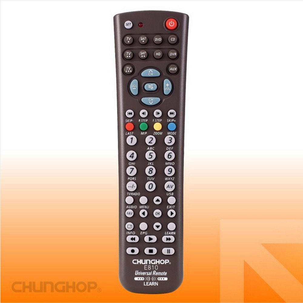 1PCS Chunghop E810 2AAA Combinational remote control learn remote for TV SAT DVD CBL DVB-T AUX universal remote 3D Smart TV CE 1pcs chunghop rm l987e tv sat dvd cbl cd ac vcr smart tv 3d universal remote control learning equipment with lcd display