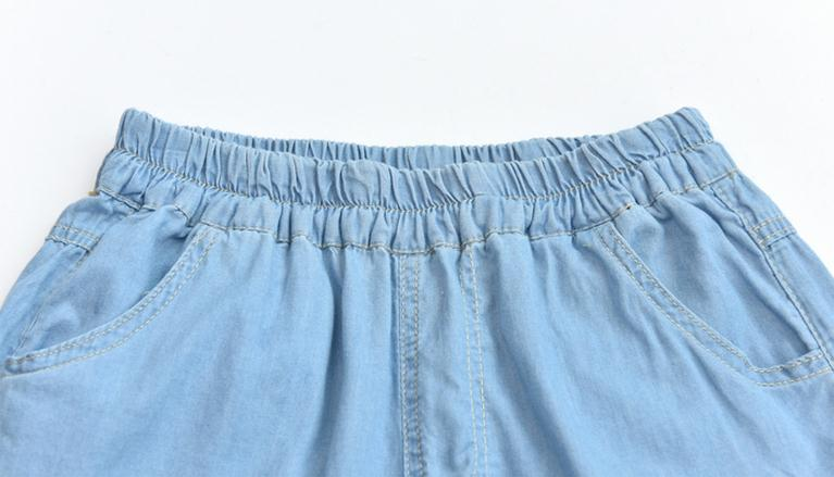 Light Blue Deep Blue Kawaii Bunny Embroidery Jeans Pants Women Summer Casual Straight Pants With Pockets Fashion Ninth Pants9