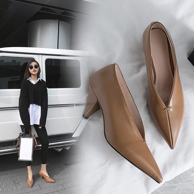 hot VANGULL women Genuine Leather shoes cow leather Sheep suede spike heels pointed toe women pumps professional  office career