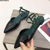 MIULAMIULA Brand Designers 2019 Summer New Sexy V Mouth Rivet Buckle Strap Lady Sandals Narrow Band Pointed Leather Shoes Female