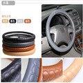 Drop Carving Auto suprimentos tampa da roda de direcção do carro usado universal capa de couro genuíno para homens presente da promoção lzh