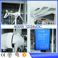 Wind Power Generator 400W 3 Blades 12 24Vdc Wind Turbine Generator With Waterproof Wind Controller And