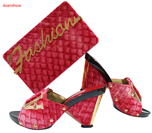 doershow New Fashion African Sandal Women Shoe And Bag To Match For Parties red Italian Shoes With Matching Bags SGF1-21 doershow shoe and bag to match italian african shoe and bag set african shoe and bag to match for parties matching shoes bch1 66