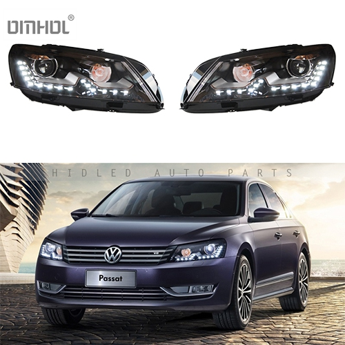 Free Shipping 1 Set HID Bixenon Hi/Lo Beams Headlight Assembly With LED DRLs For Valkswagen VW Passat 2011-2015 Plug & Play