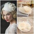 Cristais Frisado Curto Véus De Noiva Com Véus de Noiva Gaiola de Pássaro Pequeno chapéu Acessórios De Noiva velos de novia Nupcial Véu