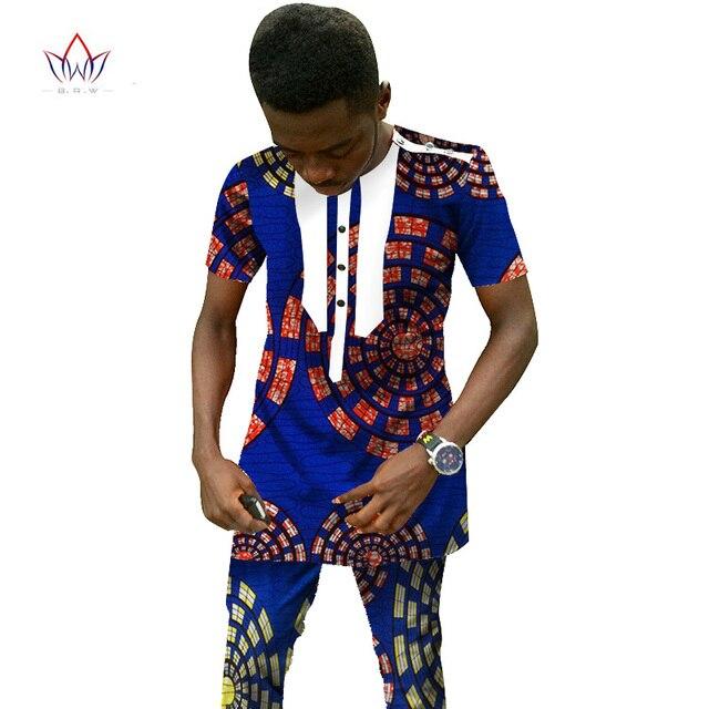 Traditional African Clothing Men's Set Short Sleeve Wax Tops & Dashiki Pants Ankara Fashions Africa Clothing Plus Size 6XL WYN25