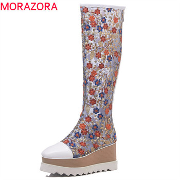 MORAZORA 2019 genuine Leather knee high boots women embroider mesh Summer boots comfortable fashion wedges platform shoes woman