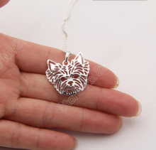 1pcs Yorkshire Terrier Necklace 3D Cut Out Puppy Dog Lover Pendant Memorial Necklaces Pendants Christmas Gift
