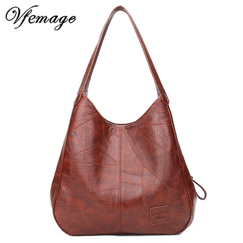 Vfemage Vintage Top-handle Bags Women Handbags Designer Female Shoulder Bags Leather Women Casual Totes 2019 Bolsos Feminina Sac