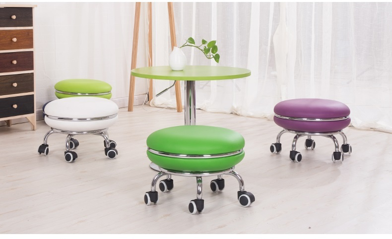 exhibition hall stool electronic fair PU seat chair yellow pink color free shipping garden stool hotel hall office chair green blue color lifting rotation stool retail wholesale pink blue furniture chair free shipping