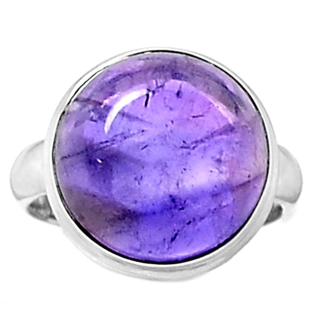 Lovegem Genuine Amethyst Cab Ring 925 Sterling Silver,Size : 7 , AR1382